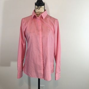 Size 8 Lands End Pink Supima Button Down Shirt